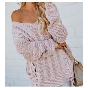 Oversized Cable Knit Lace Up Sweater   Mauve